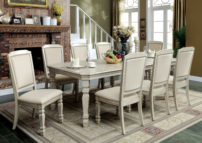 CM3600T 9 pc holcroft collection transitional style antique white finish wood dining table set