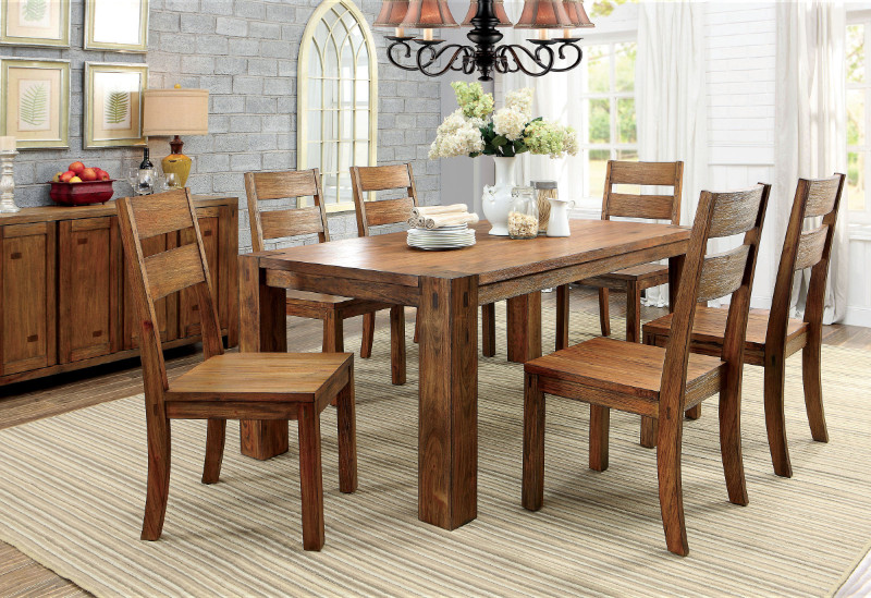 CM3603T 7 pc Frontier collection dark oak finish wood rustic block style dining table set