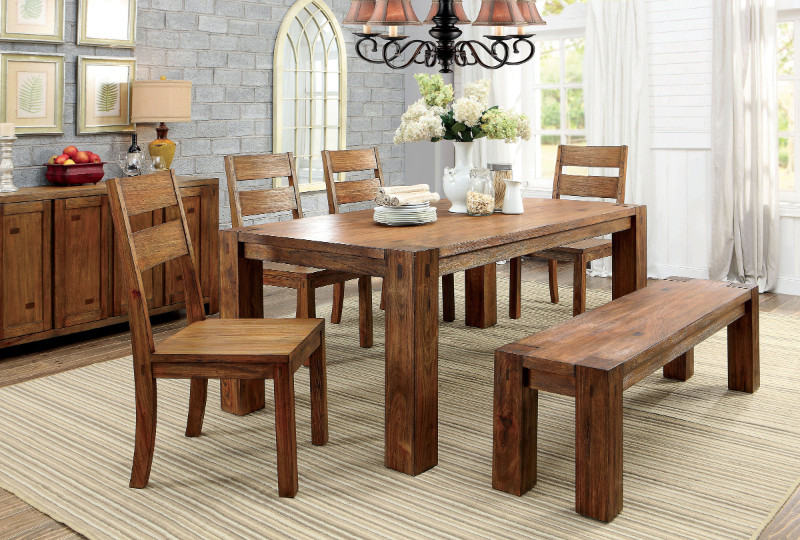 Furniture of america CM3603T-6PC 6 pc frontier dark oak finish wood rustic block style dining table set with bench