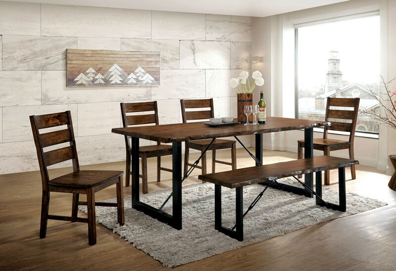 Furniture of america CM3604T-6PC 6 pc Dulce industrial style walnut finish wood dining table set
