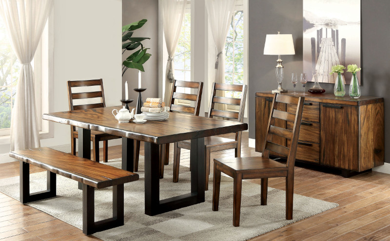 Furniture of america CM3606T-6pc 6 pc maddison tobacco oak finish natural edge wood dining table set