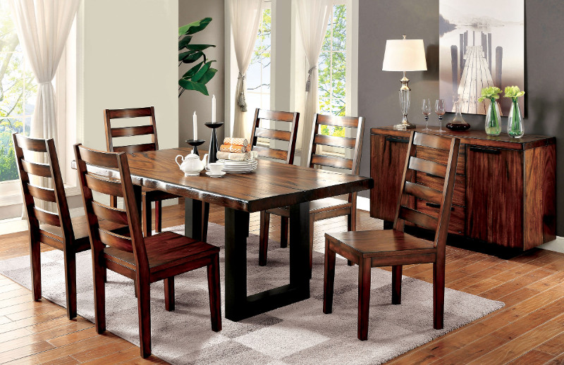 Furniture of america CM3606T-7pc 7 pc maddison tobacco oak finish natural edge wood dining table set