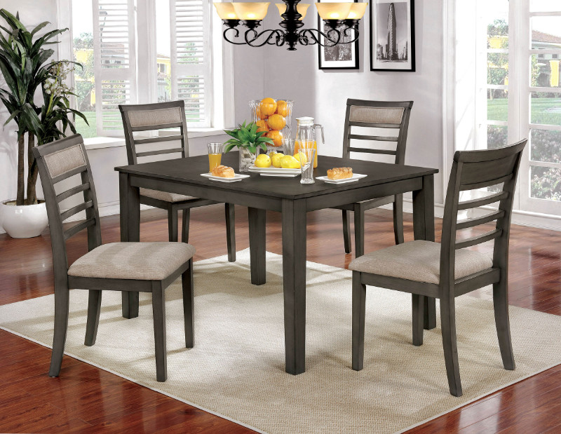 Furniture of america CM3607T-5PK 5 pc taylah weathered grey finish wood dining table set