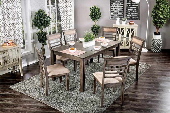 Furniture of america CM3607T-7PK 7 pc taylah weathered grey finish wood dining table set