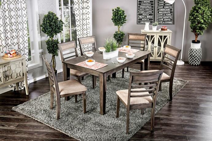 Cm3607t 7pk 7 Pc Taylah Weathered Grey Finish Wood Dining Table Set