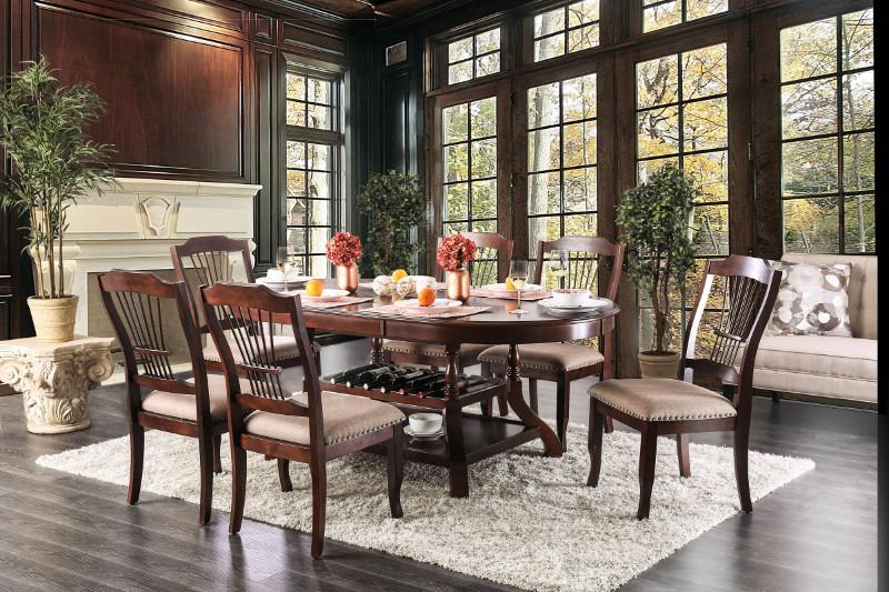 Furniture of america CM3626T-7PC 7 pc jordyn brown cherry finish wood storage base dining table set