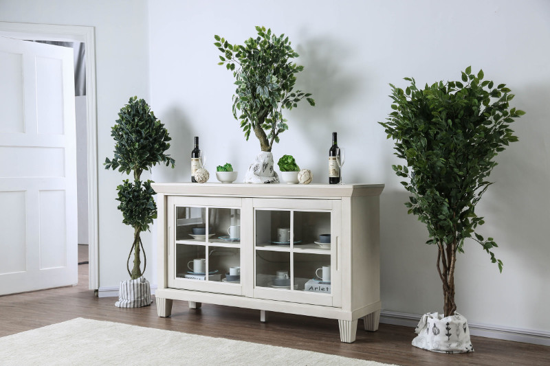 Furniture of america CM3630-SV Daniella antique white finish wood dining sideboard server console table