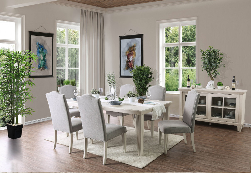 Furniture of america CM3630T-7PC 7 PC Daniella antique white finish wood dining table set