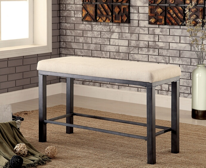 CM3686PBN Jazlyn ii  collection weathered oak finish wood counter height dining bench