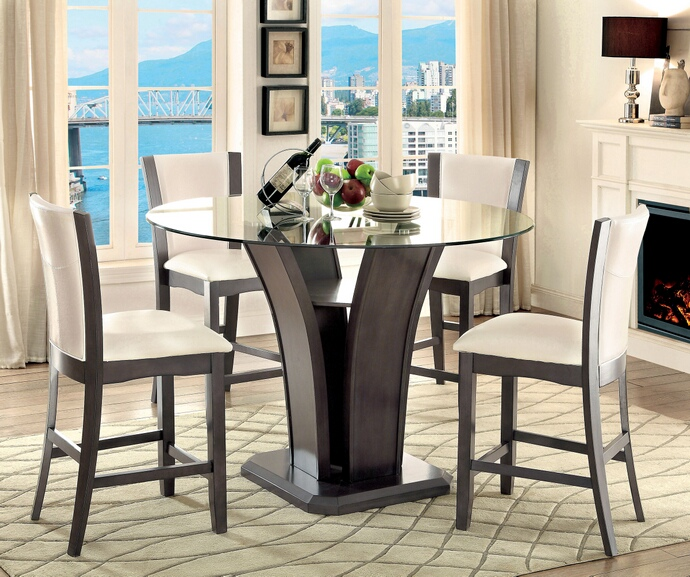 CM3710GY-PT 5 pc Manhattan I contemporary style gray finish wood base and round glass top counter height dining table set