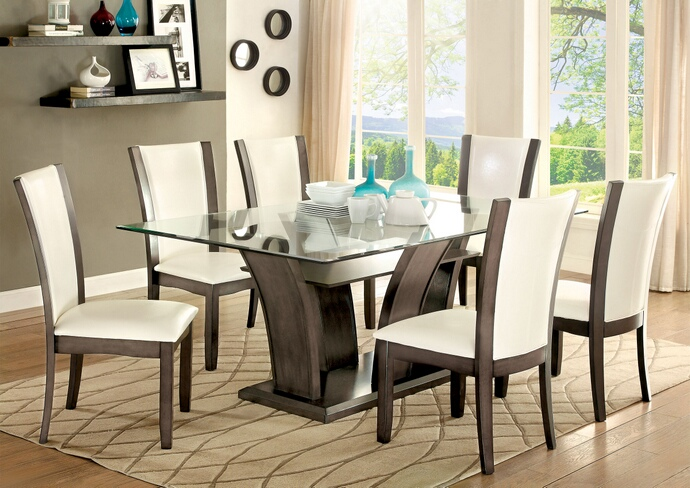 Furniture of america CM3710GY-T-7PC 7 pc manhattan i gray finish wood base glass top dining table set