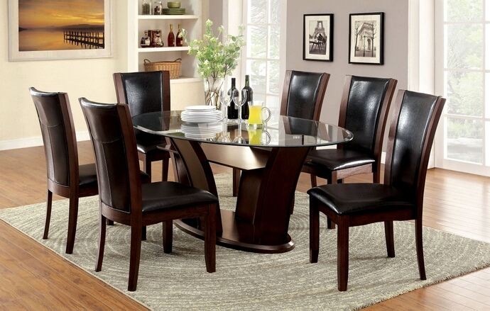 CM3710OT 7 Pc. Manhattan II collection contemporary style dark cherry wood finish and oval glass top dining set