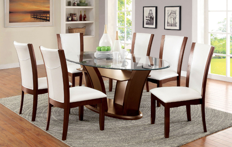 CM3710OT-WH 7 Pc. Manhattan II collection contemporary style dark cherry wood finish and oval glass top dining set with white chairs