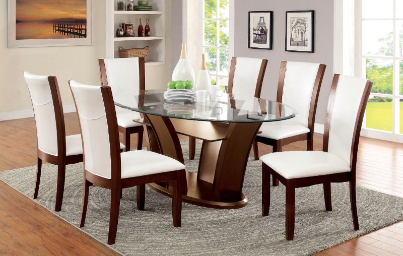 CM3710-OT-WH-7PC 7 pc Latitude run thiago manhattan ii dark cherry wood finish oval glass top dining set white chairs