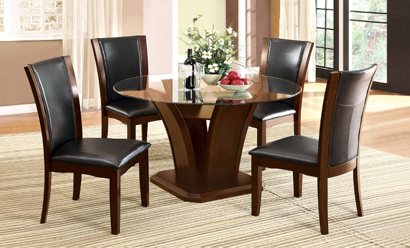 "Furniture of america CM3710RT-5PC 5 pc manhattan ii dark cherry finish wood 54"" round glass top dining table set"