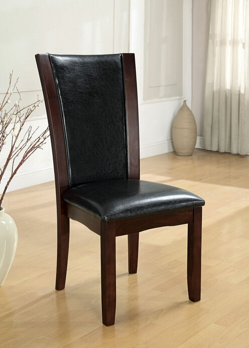 CM3710SC Set of 2 dark cherry finish wood side chairs with black faux leather upholstery