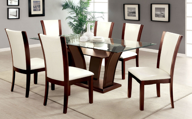 CM3710T-WH 7 Pc. Manhattan I Contemporary Style Dark Cherry Wood Finish Dining Set with White seat