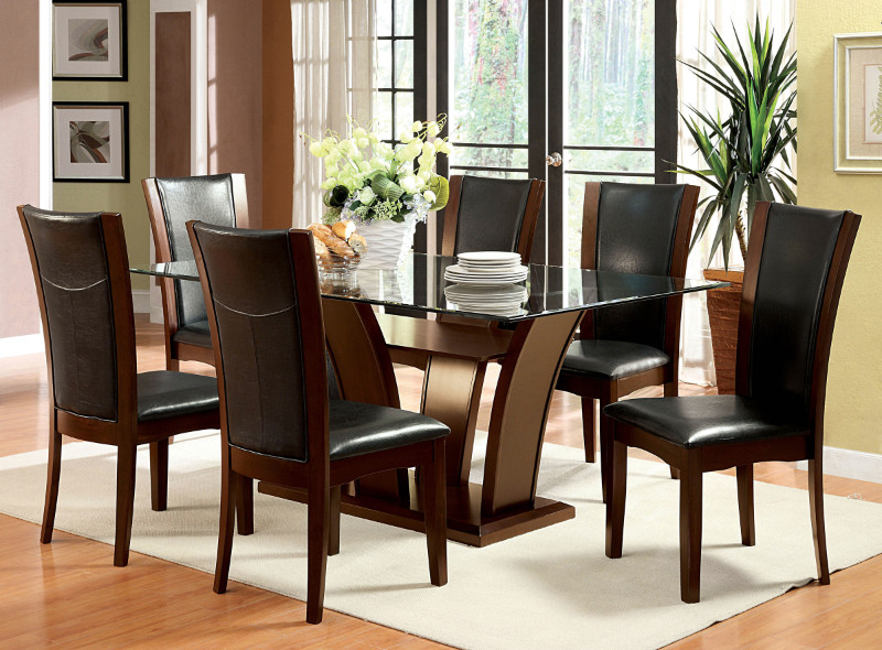 Furniture of america CM3710T-7PC 7 pc manhattan i dark cherry finish wood glass top dining table set