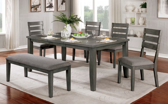CM3716T-72-6PC 6 pc One allium way viana gray finish wood dining table set with bench