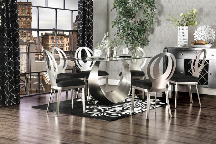 Furniture of america CM3726T-7PC 7 pc orla modern style satin plated metal base glass top dining table set