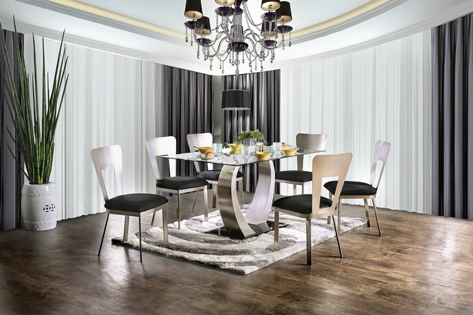 CM3728T-7PC 7 pc Brayden studio wacker nova modern style satin plated metal base glass top dining table set