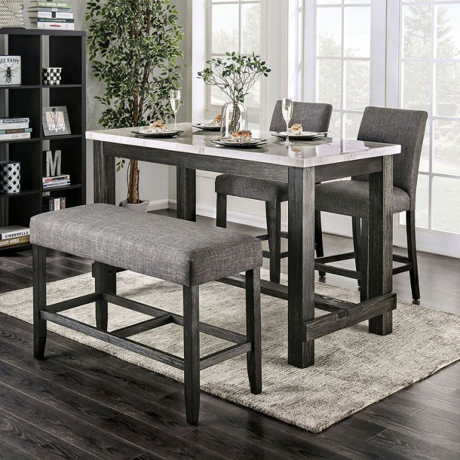 CM3736PT-GY 4 pc Red barrel studio brule antique black finish wood marble top counter height dining table set