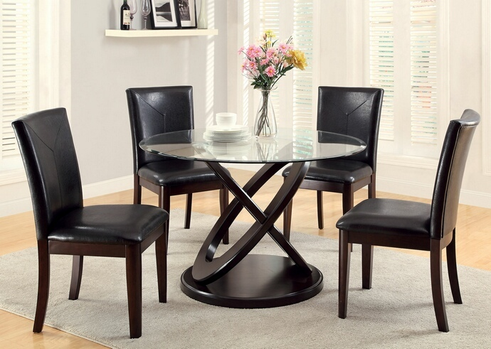 CM3774T 5 pc Atenna I contemporary style dark walnut finish wood and glass top dining table set with parson chairs