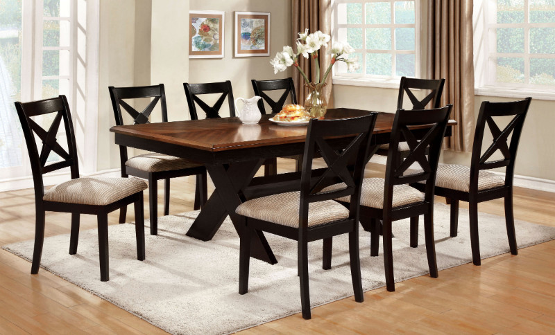CM3776T 7 pc Liberta collection cross leg pedestal dark oak & black finish wood dining table set with cross back chairs