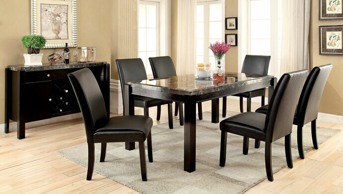 CM3823BK-T 7 pc Gladstone I collection contemporary style black marble and dark walnut wood finish dining set