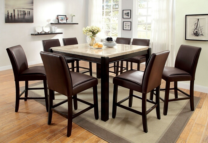 CM3823PT 7 pc Gladstone II collection contemporary style dark walnut finish wood counter height dining table set with padded chairs