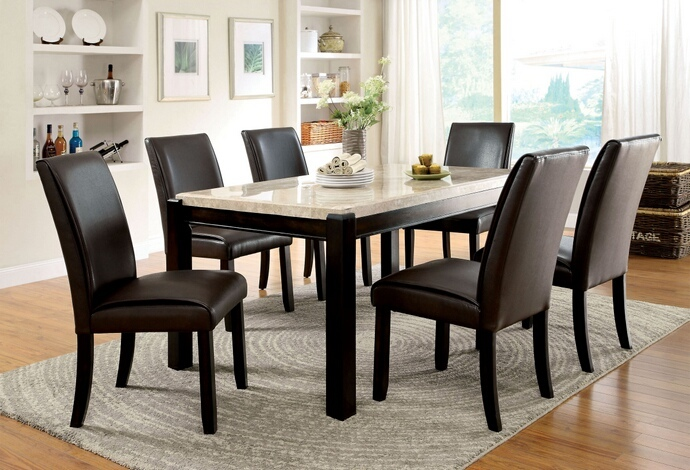 CM3823T 7 Pc. Gladstone I collection contemporary style dark walnut wood finish and marble top dining set