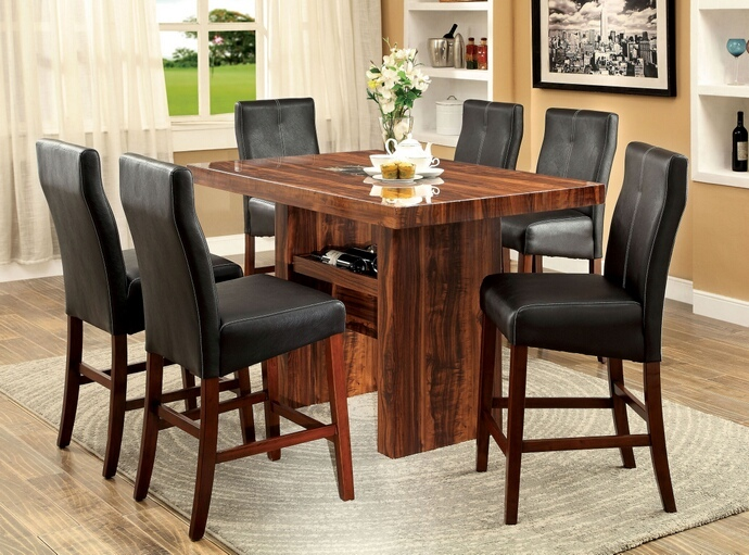 CM3824PT 7 pc Bonneville II collection contemporary style black and cherry finish rosewood grain design and faux marble insert wood counter height dining table set