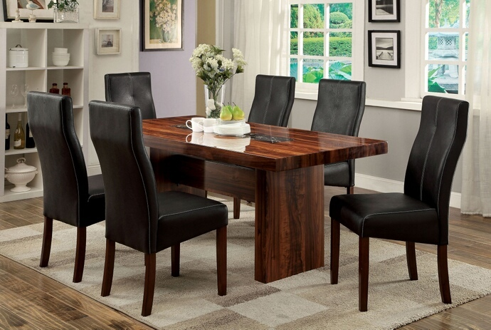 CM3824T 7 pc Bonneville I collection contemporary style brown cherry finish rosewood grain design and faux marble insert wood dining table set