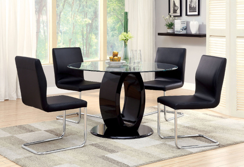 CM3825BK-RT 5 pc Lodia I collection modern style black finish wood oval pedestal base dining set with round glass top