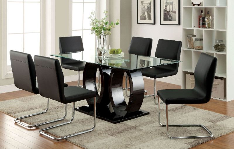 CM3825BK-T 7 pc Lodia I collection modern style black finish wood double oval pedestal base dining set with glass top