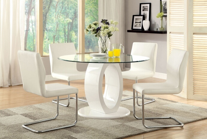 CM3825WH-RT 5 pc Lodia I collection modern style white finish wood oval pedestal base dining set with round glass top