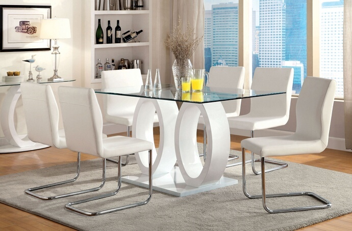CM3825WH-T-7PC 7 pc Olgette lodia i modern style white finish double oval pedestal base glass top dining table set