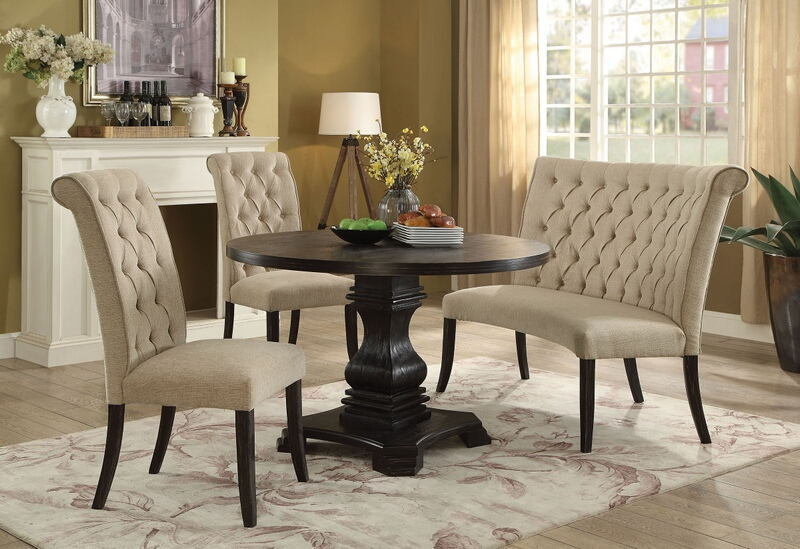4 Pc Nerissa Collection Antique Black Finish Wood Transitional Style Round Dining Table Set With Ivory