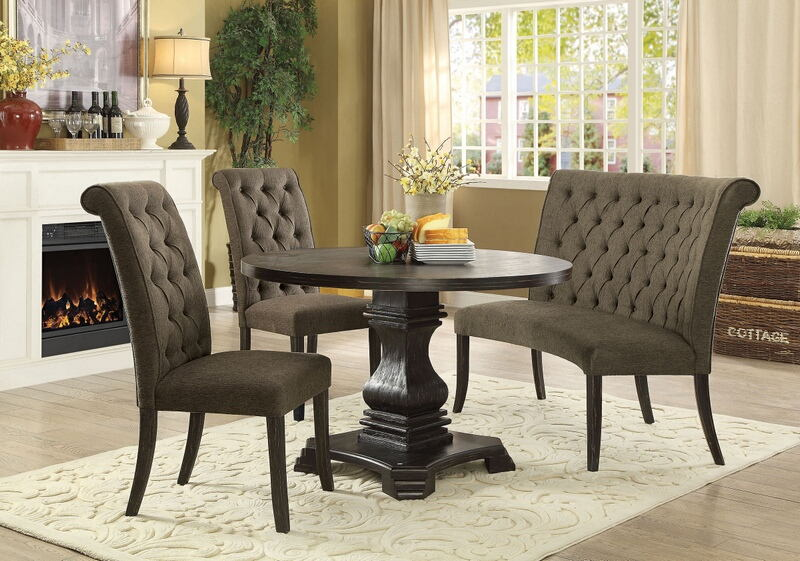 4 pc nerissa collection antique black finish wood transitional style round dining table set with gray tufted chairs
