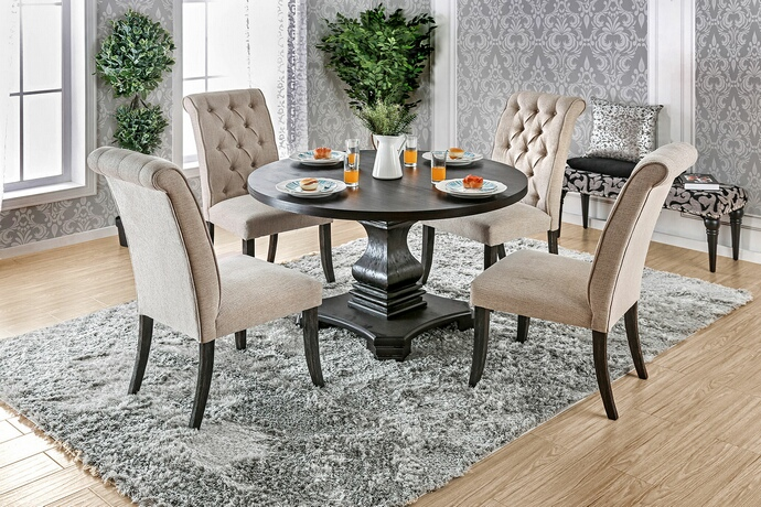 CM3840RT 5 pc nerissa collection antique black finish wood transitional style round dining table set with tufted chairs