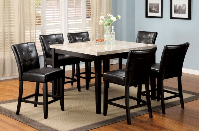 CM3866PT-48 5 Pc. Marion II Espresso Wood Finish with a Square Marble Table Top Counter Height Set