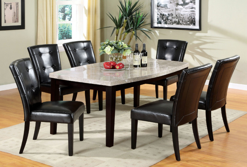 Furniture of america CM3866T-7PC 7 pc marion i espresso finish wood ivory rectangular marble top dining table set