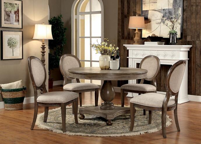 "CM3872RT-5PC 5 pc One allium way jenifer siobhan rustic dark oak finish wood 48"" round dining table set"