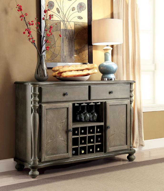 Furniture of america CM3872-SV Siobhan II rustic dark oak finish wood dining sideboard server console table
