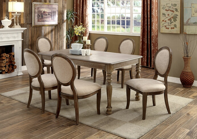 CM3872T 7 pc siobhan collection rustic dark oak finish wood transitional style dining table set