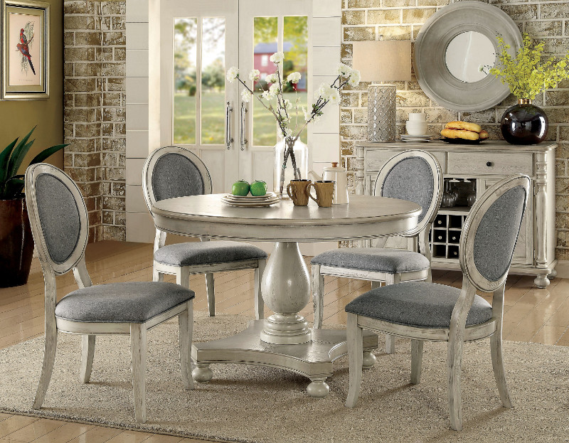 """Furniture of america CM3872WH-RT-5PC 5 pc siobhan antique white finish wood 48"""" round dining table set"""