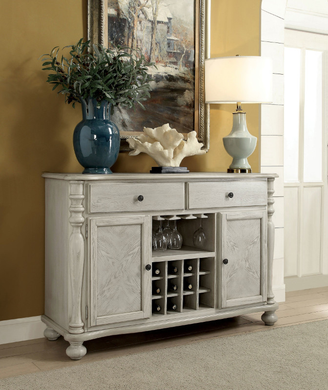 Furniture of america CM3872WH-SV Siobhan II antique white finish wood dining sideboard server console table