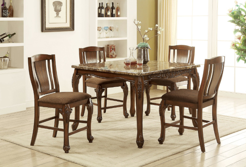 CM3873PT-5PC 5 pc Fleur de lis living damiansville johannesburg I brown cherry finish wood faux marble top counter height dining table set