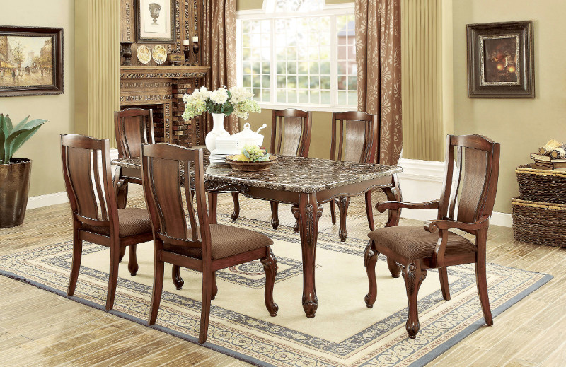 Furniture of america CM3873T-7PC 7 pc Johannesburg I brown cherry finish wood faux marble top dining table set