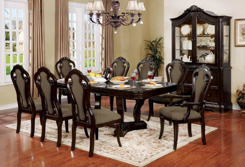 Furniture of america CM3878T-7PC 7 pc Rosalina walnut finish wood elegant formal style dining table set